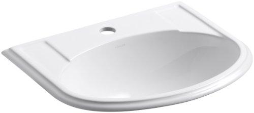 (KOHLER K-2279-1-0 Devonshire Self-Rimming Bathroom Sink, White)
