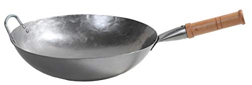 Mecete Wok pan 1st Generation, Traditional Hand Hammered Uncoated Carbon Steel Pow Wok with Wooden and Steel Helper Handle (14 Inch, Round Bottom) 1.8 mm thickness FDA approved