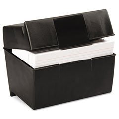 * Plastic Index Card Flip Top File Box Holds 500 5 x 8 Cards, Matte Black 4COU