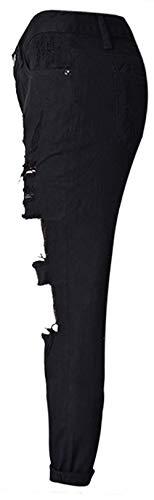 Mujeres Las De Mezclilla Pantalón Vaqueros Stretch Pantalones Agujeros Jane Fashion Casuales Saoye Schwarz Alta Cintura Pantimedias Denim Cher Ropa qxEtIA