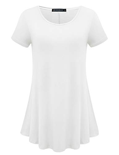ZENNILO Womens Short Sleeve Loose Fit Swing Tunic Tops Basic T Shirt (White, L)