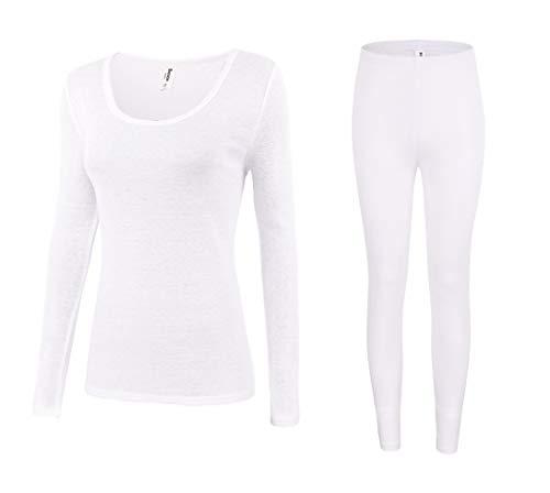 Bienzoe Women's High Tech Fiber Thermals Long Johns Tops & Pants Set S White