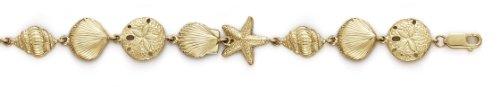 Or 14carats-Bracelet-Étoile de mer Coque Sanddollar-18,4cm