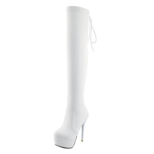 Shoes Boots Back Heels Agodor Lace High The Stiletto Thigh up High White Knee Over Platform Womens Extremely w7xB78Zpq