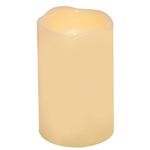 Waterproof Outdoor Battery Operated Flameless LED Pillar Candle with Timer Flickering Plastic Resin Electric Decorative Night Light Lantern Patio Garden Home Decor Party Wedding Decorations D3