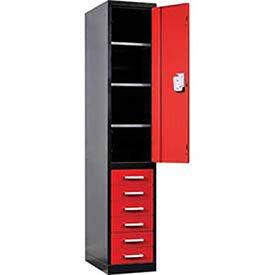 Fort Knox Locker Cabinet Single Half Ht Door & 6 Drawers, 24x24x78, Black & Red