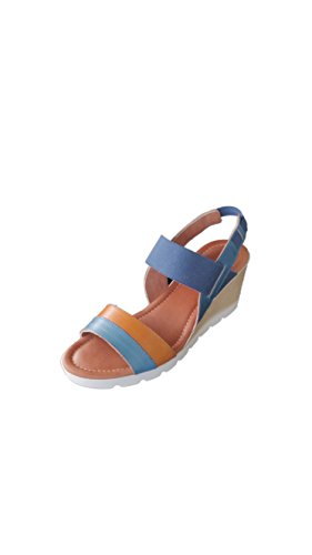 Vacchetta Rose Blu Easy'n Pelle in Zeppa 198 101 Sandalo Cuoio Donna 8UUd6Oqw
