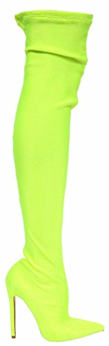 CAPE ROBBIN Lexi-3 Over Knee Thigh High Pointed Toe Elastic Stretchy Stiletto Heel Sock Boot Neon Yellow Neon Yellow QTdbSKj6