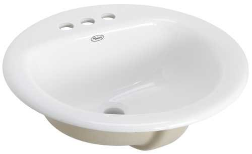 Drop-In Lavatory Sink with 4'' Centers, 19'', Round, White, 14.697'' x 14.697'' x 14.697'' by Premier