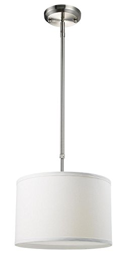 n One Light Pendant, Metal Frame, Brushed Nickel Finish and White Linen Shade of Fabric Material ()