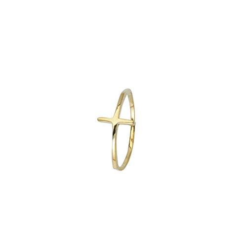 Cross Ring, E2W Small High Polished Cross Ring by DiamondJewelryNY