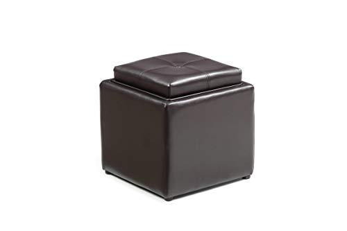 HODEDAH IMPORT HI 1184 Brown PVC Faux Leather Ottoman, (Double Storage Ottoman With Tray)