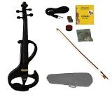 Merano MVE20BK-A 4/4 Full Size Ebony Fitted Electric Silent Violin with Case and Bow Free Rosin, Black by Merano