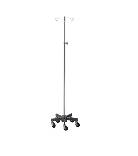 McKesson 81-43409 Entrust Performance Large Infusion Pump Stand, 6 Leg, 4 Hook