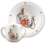 Beatrix Potter Peter Rabbit Family 2 pc Toddler Porcelain Set in Window Box