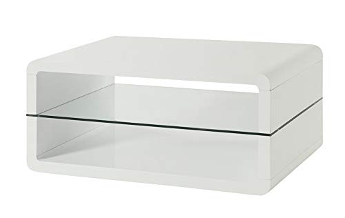 Coffee Table with 2-shelf White and Clear ()