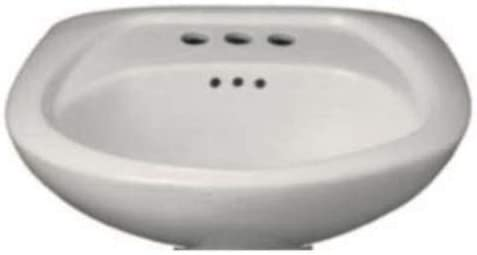 PROFLO PF4004WH PROFLO PF4004 24 Pedestal Sink with 3 Drilled Faucet Holes 4 Centers – Less