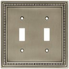 Wall Plates, Beaded Series Double Switch, Brushed Satin Pewter Finish