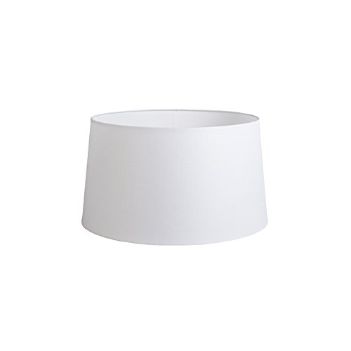 QAZQA Lin Abat-jour 40cm rond DS E27 lin blanc, Rond oblique Abat-jour Suspendu,Abat-jour Lampadaire