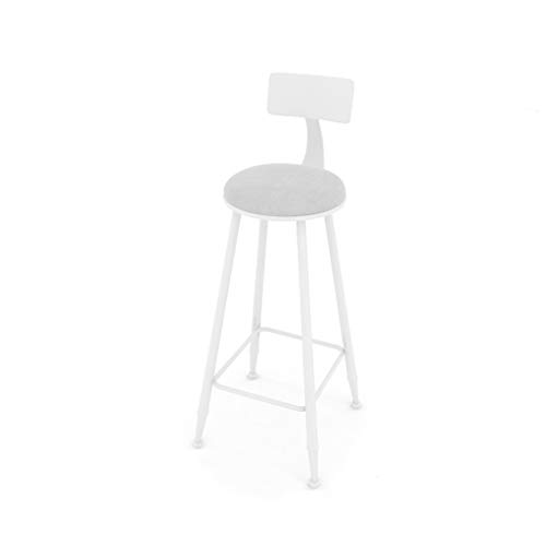 (HBJP Iron Bar Stool with Back Suede Seat Creative Home Cafe High Stool White Pink Gold bar Chair (Color : White))