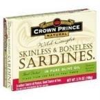 CROWN PRINCE SARDINE BNLSS SKNLS OLIVE OIL, 3.75 OZ