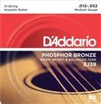 D'Addario Guitar Strings | 12 String | 12-52 | Phosphor Bron