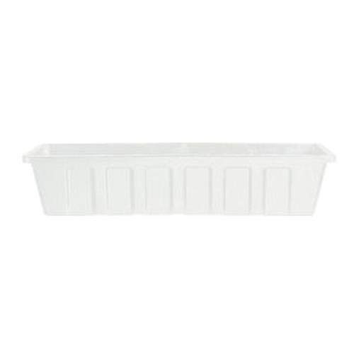 White Flower Boxes - Novelty Poly-Pro Plastic Flower Box Planter, White, 24-Inch