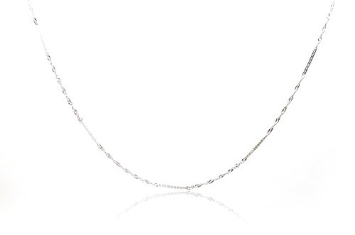 Chelsea Jewelry Basic Collections Italian Designed 1.9mm Wide 18K White Gold Double Twisted Flat Curb link Chain Necklace. (30 (Gold Double Curb Chain)