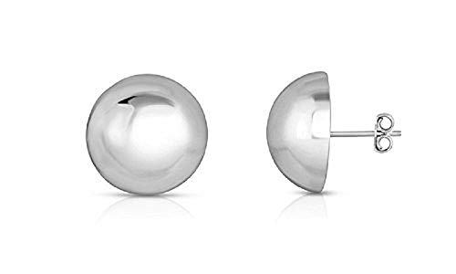 Sterling Silver Half Ball Moon Stud Earrings (Available in 4,6,8,10,12,& 14 mm sizes) - 100% Hypoallergenic and Nickel Free (12mm)
