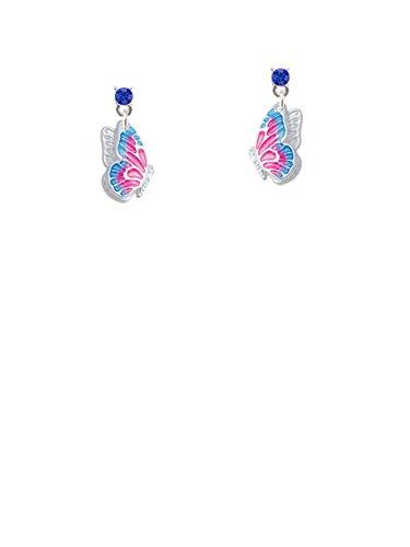 Translucent Hot Pink & Blue Flying Butterfly Blue Crystal Post (Blue Enamel Butterfly Post Earrings)