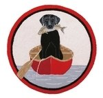 CANOE ROUND HOOK RUG 3' 100% WOOL/COTTON,  BLACK LAB IN CANO