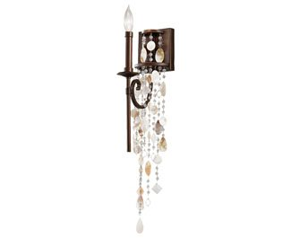 Feiss WB1570HTBZ Cascade Crystal and Shell Wall Sconce Candle Lighting, Bronze, 1-Light (5''W x 17''H) 60watts
