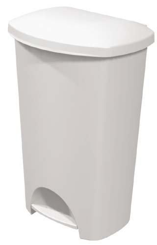 Sterilite Step-on Wastebasket - 11 Gallon Capacity - Solid Color with White (Plastic Hands Free Trash Can)
