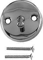 Westbrass 3-1/8'' Two-Hole Trip Lever Overflow Face Plate and Screws, Polished Chrome, D330-26