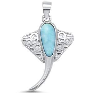 Natural Larimar Stingray Design 925 Sterling Silver Pendant - Jewelry Accessories Key Chain Bracelet Necklace Pendants