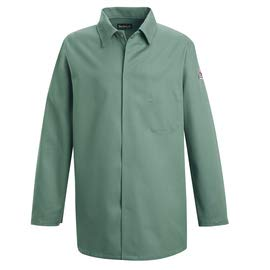 Bulwark Size 2X Visual Green Cotton Long Sleeve Flame Resistant Coat with Gripper Front Closure