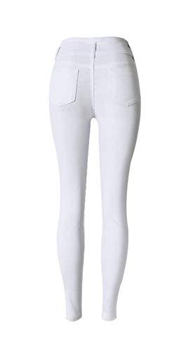 Tinta Con Vita Da Pantaloni Matita Bianca Marca Denim Slim Mode Skinny Unita In Donna A Di Jeans Tasche Bolawoo Bottoni Alta xZBEwIOqq