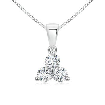 Round Diamond Three Stone Pendant in Platinum (3.6mm Diamond)