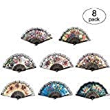 Huihuiyang 8 PCS Spanish Floral Folding Hand Fan Vintage Retro Pattern Fabric Fans (8 Different Patterns)