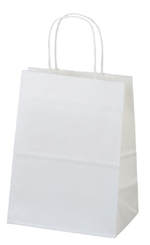 ": Flexicore Packaging White Kraft Paper Bags, Shopping, Mechandise, Party, Gift Bags, 8""x4.75""x10"" - 100 Pcs"
