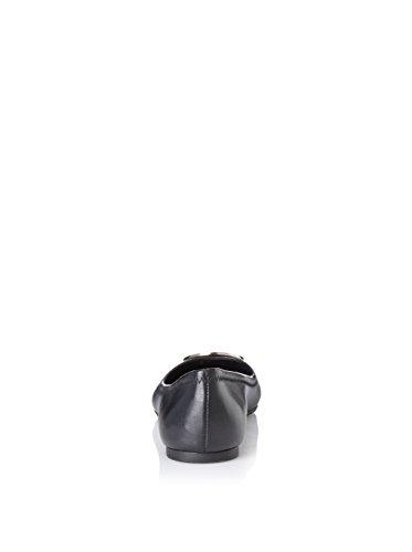 TORY BURCH SCARPE BALLERINE DONNA 50008690 REVA BALLET IN PELLE NERO + ARGENTO