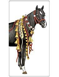 (Holiday Sleigh Bells Black Horse 100% Cotton Flour Sack Dish Tea Towel - Mary Lake Thompson 30