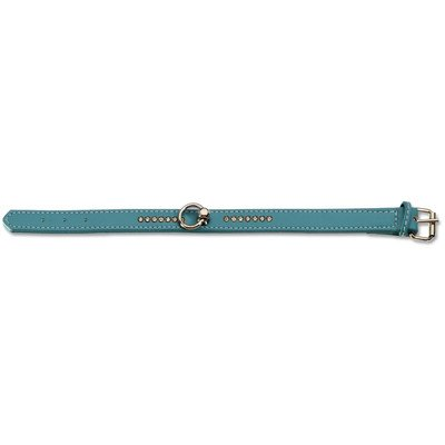 Fashion Flat Leather Dog Collar with Crystals Size: Medium, Color: Light Blue