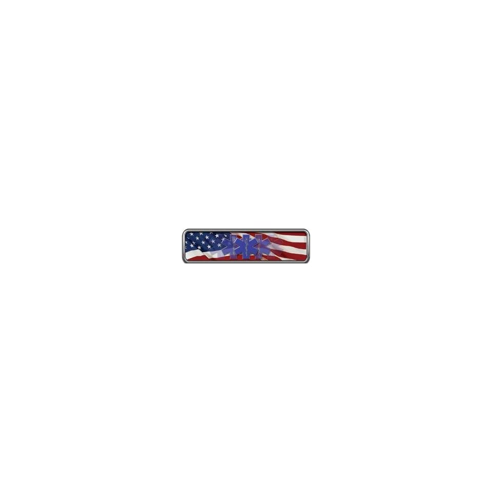 Reflective American Flag EMS Helmet Marker 1 h by 4 w   Set of 4 REFLECTIVE Decals