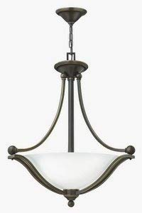 Hinkley 4652OB-OPAL Transitional Three Light Inverted Pendant from Bolla Collection in Bronze/Darkfinish,