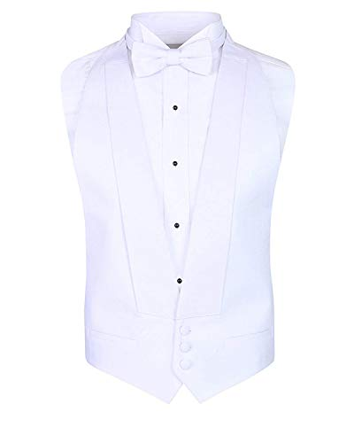(White Pique Vest & Self-Tie Bow Tie (Fits All))