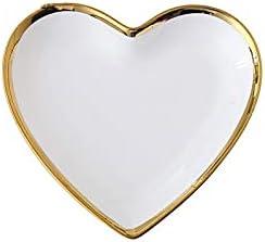 Ljyutihgcp Dinner Plates, Creative Peach Heart-Shaped Plate Ceramic Pure White Home Dinner Plate Cute Breakfast Plate, size(22.221.33.5cm)