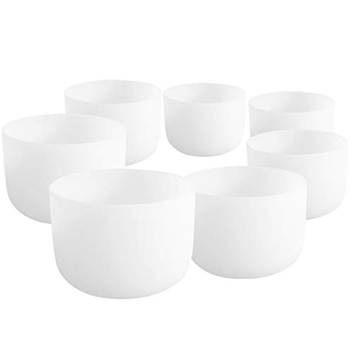 7''-12'' 432Hz Chakra Tuned Set of 7 Frosted Quartz Crystal Singing Bowl by SOUNDENERGY (Image #4)