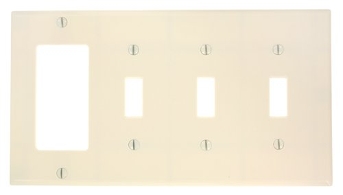 Leviton P326-T 4-Gang 3-Toggle 1-Decora/GFCI Device Combination Wallplate, Light Almond - 1 Gang Almond