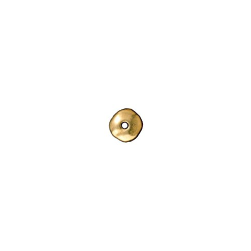 Pewter Parts Bright - TierraCast Nugget Heishi, 7mm, Bright 22K Gold Plated Pewter